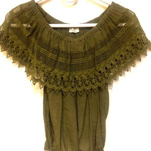 TOBI Green Off the Shoulder Crochet Lace Top XS